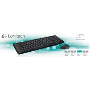 Logitech 920-003161MK220 Mini Keyboard/Mouse desktop set [RF Wireless/ Optical, Scroll, Black]